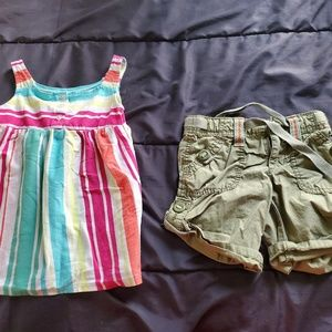 girl 4t stripe tank and olive green shorts